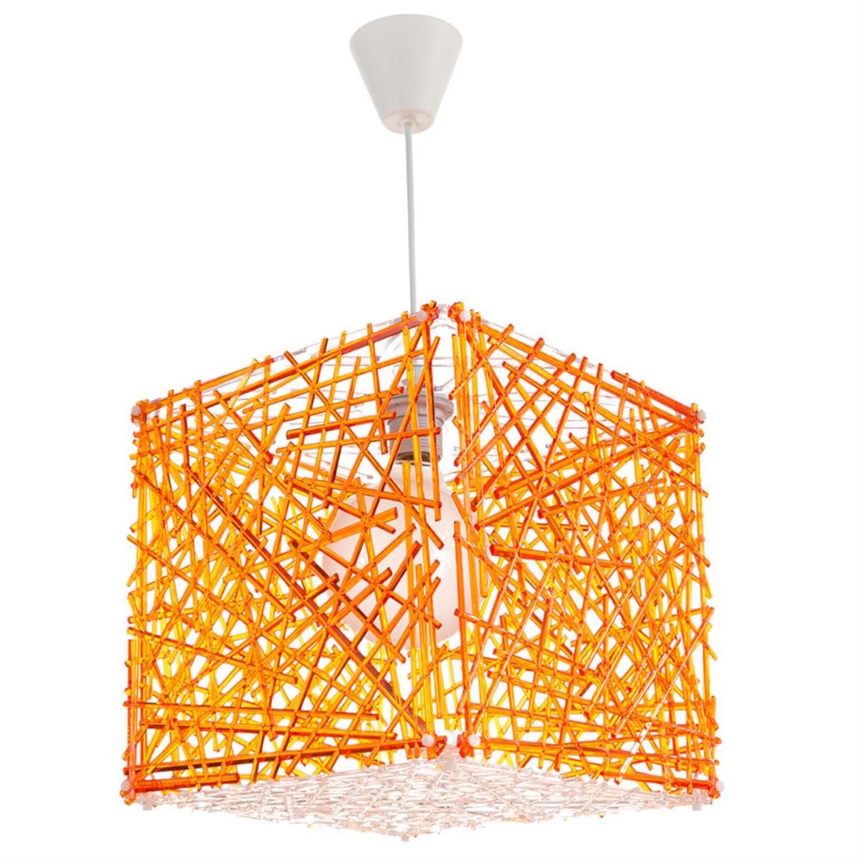 Φωτιστικό οροφής μονόφωτο κρεμαστό Κύβος plexiglass πορτοκαλί 30x30cm Inlight 4339-ORANGE