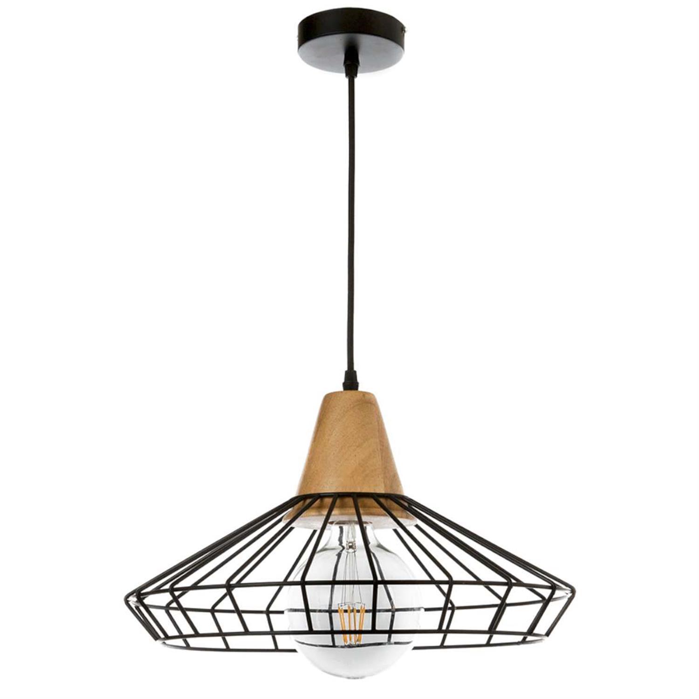 Μονόφωτο με μαύρο μέταλλο και ξύλο Inlight 4389