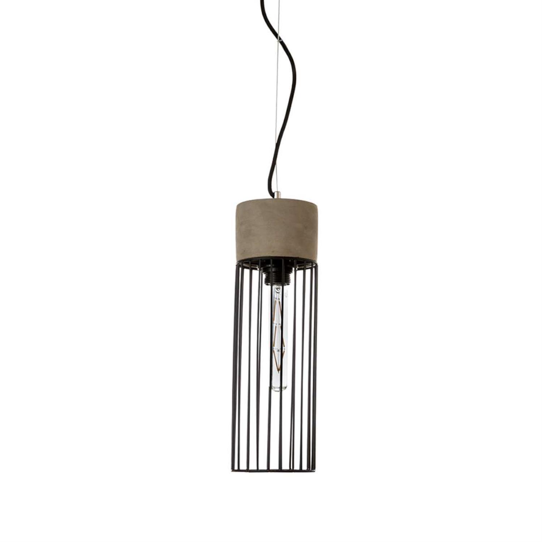 Φωτιστικό οροφής κρεμαστό μονόφωτο τσιμεντένιο/μεταλλικό μαύρο/γκρι 12x40cm Inlight 4406