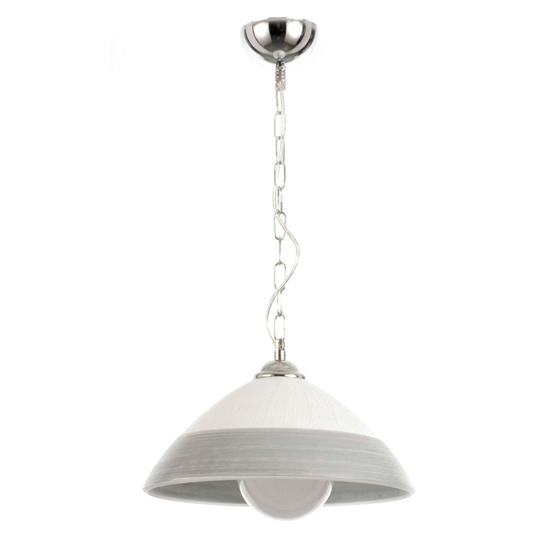 Φωτιστικό οροφής μονόφωτο κρεμαστό με νίκελ ματ μέταλλο γυαλί λευκό/ασημί 35×18-98cm Inlight 4409-A-SILVER