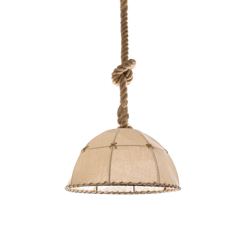 Φωτιστικό οροφής/Καμπάνα κρεμαστό μονόφωτο με λινάτσα και σχοινί καφέ 35x20cm Inlight 4415B
