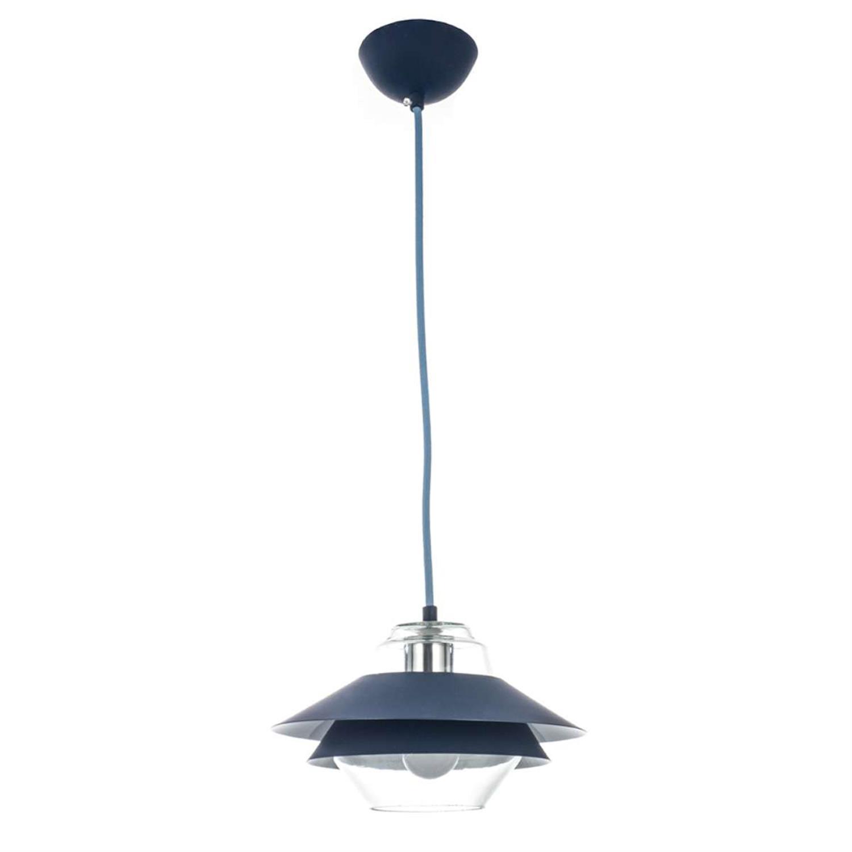 Φωτιστικό οροφής μονόφωτο κρεμαστό μεταλλικό με διάφανο γυαλί μπλε 25cm Inlight 4482-BLUE