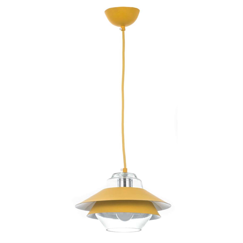 Φωτιστικό οροφής μονόφωτο κρεμαστό μεταλλικό με διάφανο γυαλί κίτρινο 25cm Inlight 4482-YELLOW