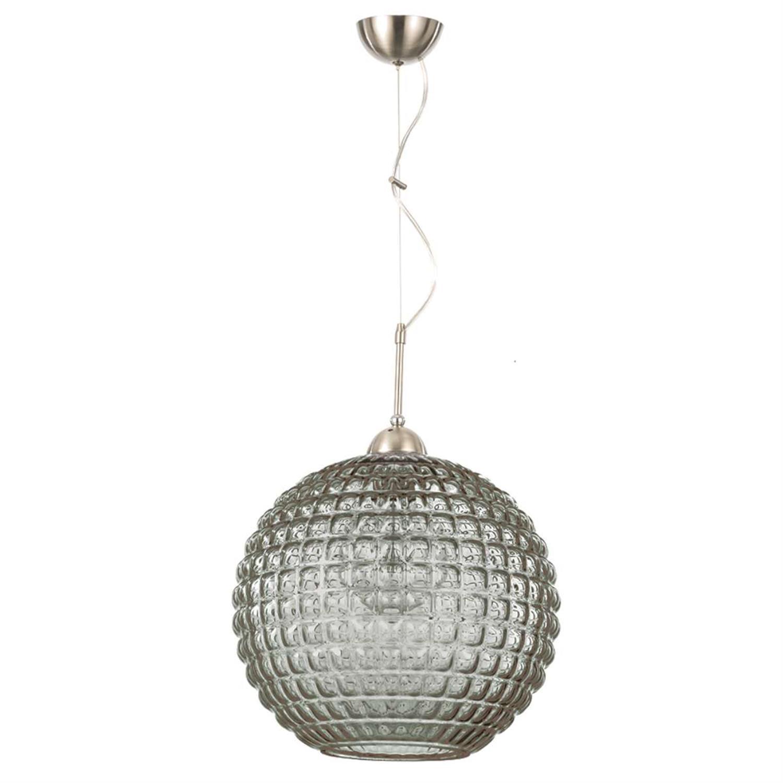 Φωτιστικό οροφής μονόφωτο κρεμαστό με γυαλί νίκελ ματ μεταλλική ανάρτηση φιμέ Δ35cm Inlight 4483-FIME