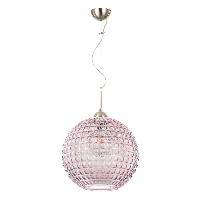Φωτιστικό οροφής μονόφωτο κρεμαστό με γυαλί νίκελ ματ μεταλλική ανάρτηση ροζ 35cm Inlight 4483-PINK