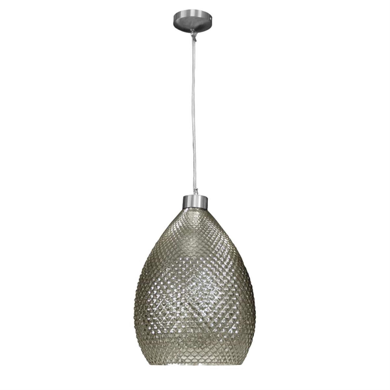 Φωτιστικό οροφής μονόφωτο κρεμαστό με γυαλί νίκελ ματ μεταλλική ανάρτηση φιμέ 27x38cm Inlight 4485-FIME