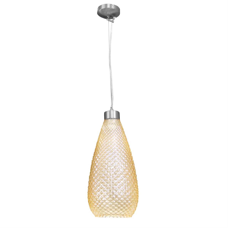 Φωτιστικό οροφής μονόφωτο κρεμαστό με γυαλί νίκελ ματ μεταλλική ανάρτηση μελί 18x38cm Inlight 4486-AMBRA