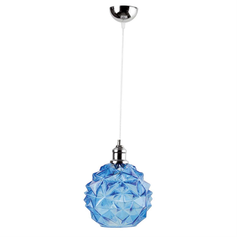 Φωτιστικό οροφής μονόφωτο κρεμαστό με γυαλί ανάρτηση από χρώμιο μπλε 23x21cm Inlight 4491-BLUE