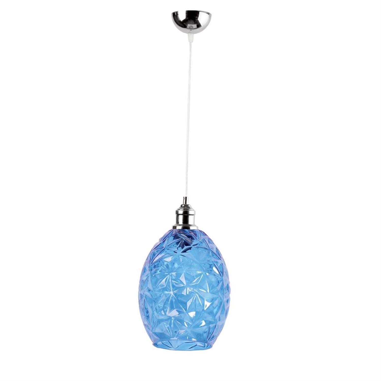 Φωτιστικό οροφής μονόφωτο κρεμαστό με γυαλί ανάρτηση από χρώμιο μπλε 20x26cm Inlight 4492-BLUE