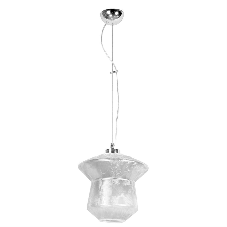 Φωτιστικό οροφής μονόφωτο κρεμαστό με γυαλί μεταλλική ανάρτηση γκρι/ασημί 26x25cm Inlight 4494-SILVER