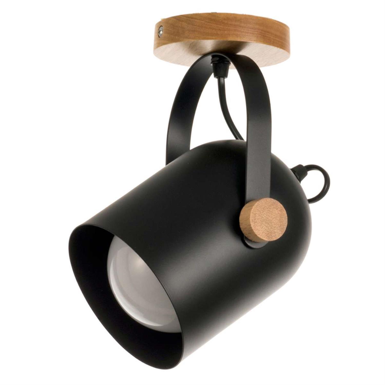 Φωτιστικό οροφής μαύρο ξύλο και μέταλλο 15x30cm Inlight 6133-1-B