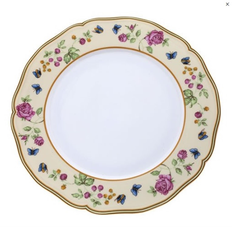 Πιάτο ρηχό πεταλούδες/λουλούδια πορσελάνινο μπεζ Δ27cm