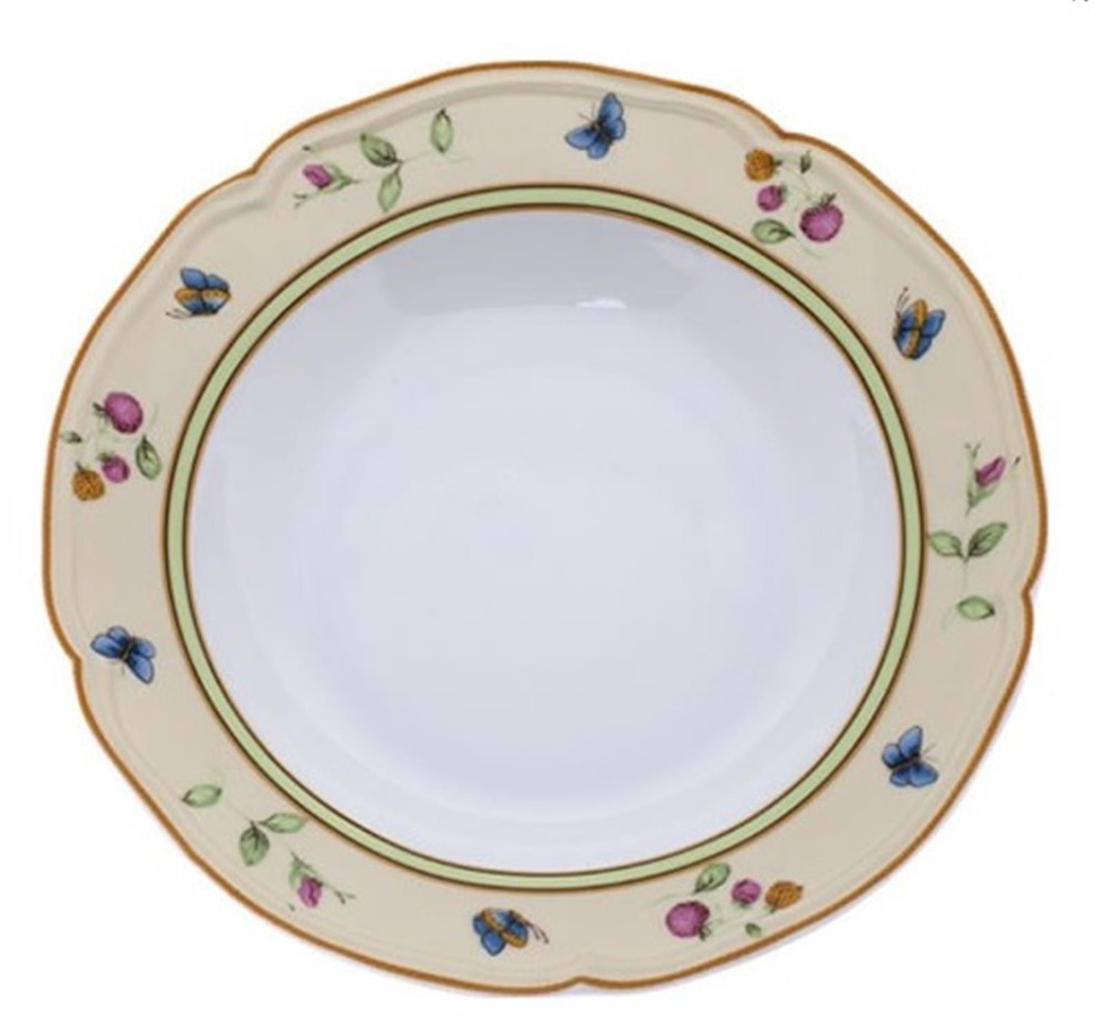 Πιάτο βαθύ πεταλούδες/λουλούδια πορσελάνινο μπεζ
