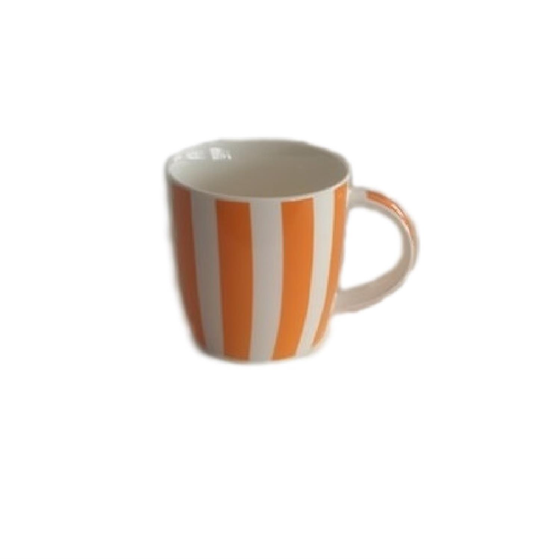 Κούπα bone china χαμηλή με ρίγες πορτοκαλί