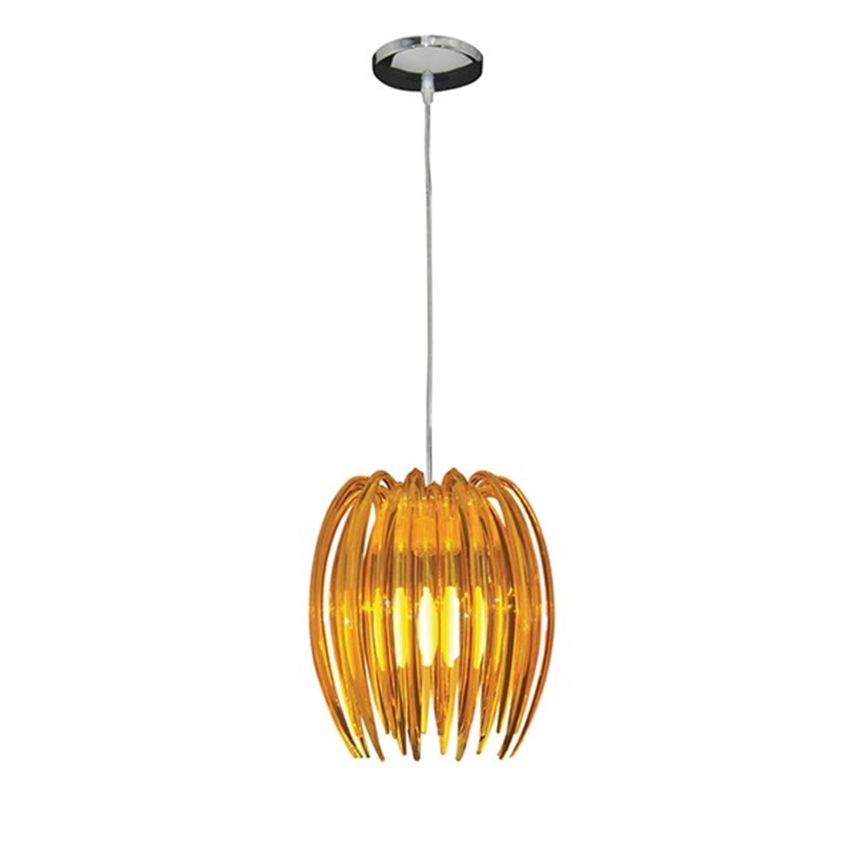 Φωτιστικό οροφής μονόφωτο plexi glass με ραβδάκια ανάρτηση χρωμίου πορτοκαλί Kendia 25x150cm Home Lighting 77-1495