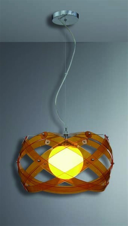 Φωτιστικό οροφής μονόφωτο plexi glass με ανάρτηση χρωμίου πορτοκαλί Amarilys 45x120cm Home Lighting 77-1538