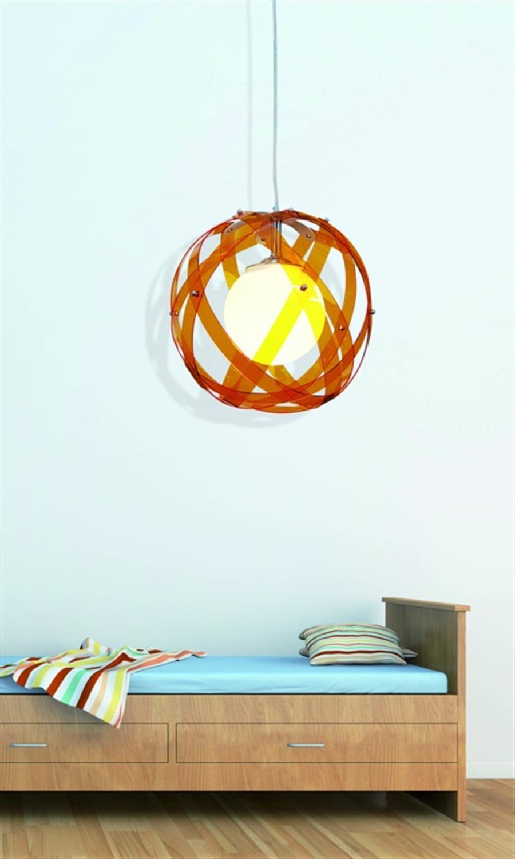 Φωτιστικό οροφής μονόφωτο plexi glass με ανάρτηση χρωμίου πορτοκαλί Nefeli 30x120cm Home Lighting 77-1540