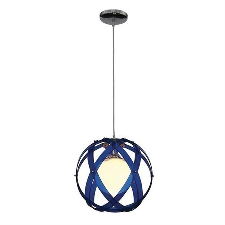 Φωτιστικό οροφής μονόφωτο plexi glass με ανάρτηση χρωμίου μπλε Nefeli 30x120cm Home Lighting 77-1541