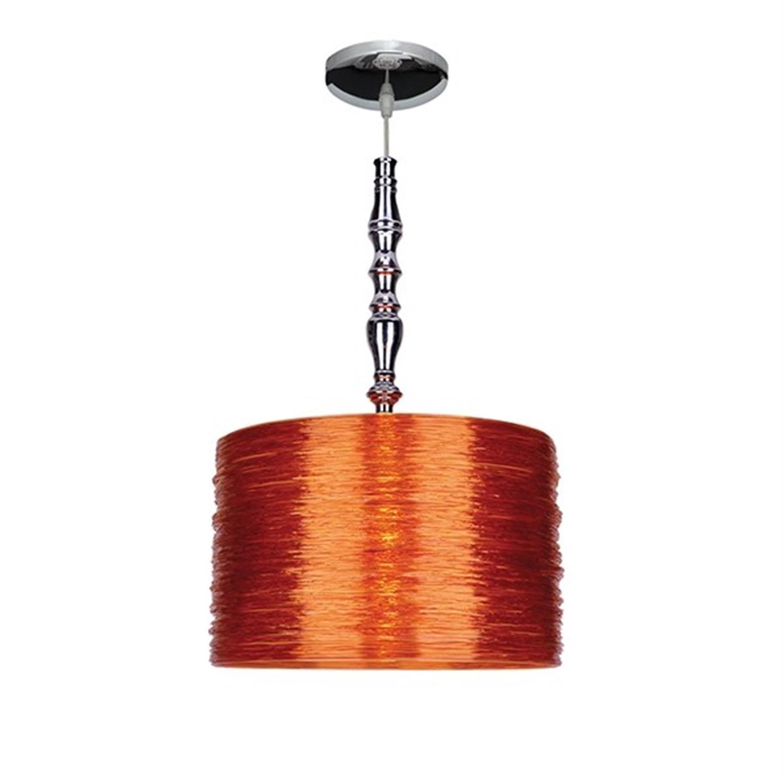 Φωτιστικό οροφής μονόφωτο ακριλικό με ανάρτηση χρωμίου πορτοκαλί Acrilic Fan 38x150cm Home Lighting 77-1795