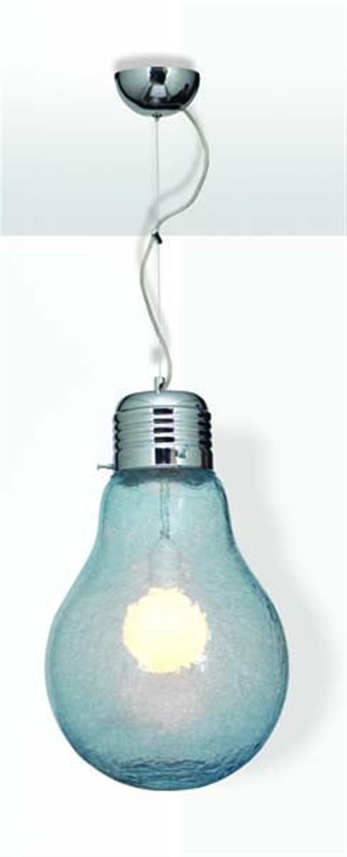 Φωτιστικό οροφής μονόφωτο με χειροποίητο φυσητό γυαλί κρακελέ λάμπα μπλε Laba Crakele 20cm Home Lighting 77-1873