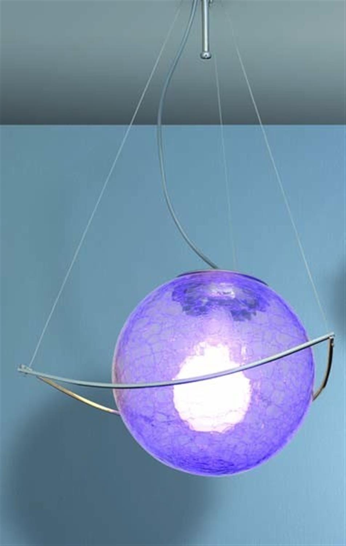 Φωτιστικό οροφής μονόφωτο μεταλλικό χρωμίου με χειροποίητο φυσητό γυαλί κρακελέ μωβ Trigono 25cm Home Lighting 77-1879