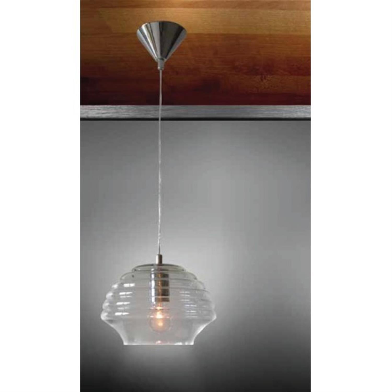 Φωτιστικό οροφής μονόφωτο γυάλινο διάφανο ροζέτα χρωμίου Solo 24x120cm Home Lighting 77-2093