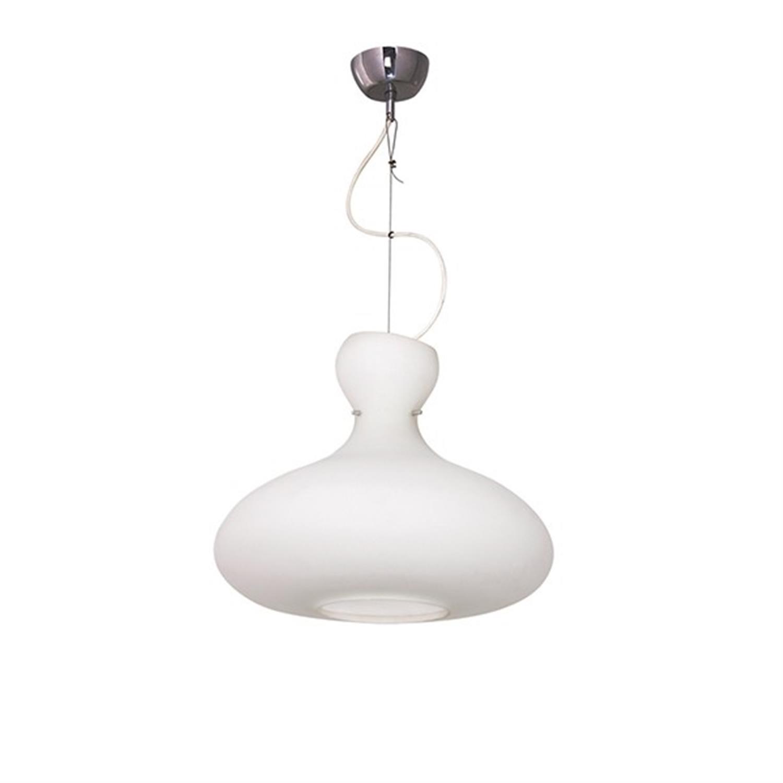 Φωτιστικό οροφής μονόφωτο γυάλινο οπαλίνα ροζέτα χρωμίου Mateo 40x120cm Home Lighting 77-2097