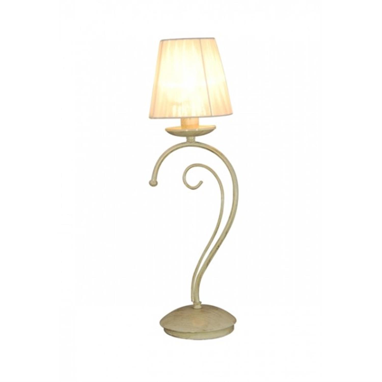 Φωτιστικό επιτραπέζιο μονόφωτο μεταλλικό μπεζ χρυσό πατίνα καπέλο οργαντίνας Mago 15x50cm Home Lighting 77-3351
