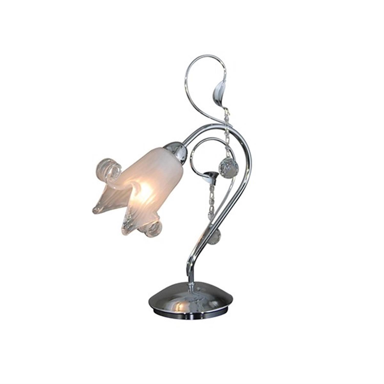 Φωτιστικό επιτραπέζιο μονόφωτο μεταλλικό χρωμίου με κρύσταλλα και χειροποίητο γυαλί Memo 30x40cm Home Lighting 77-3361