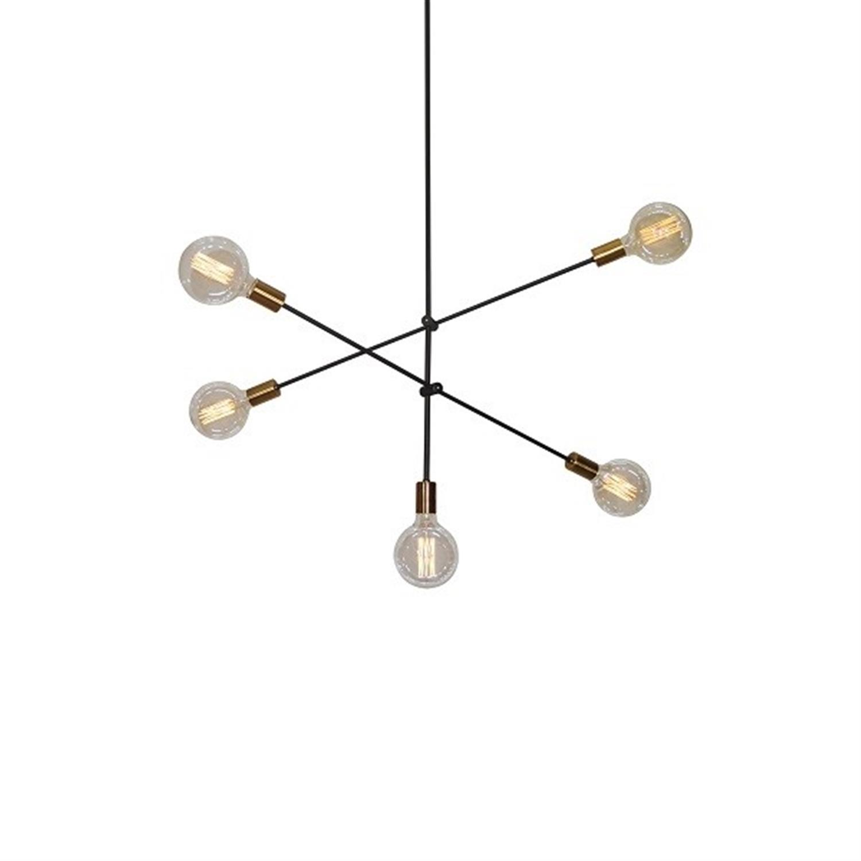 Φωτιστικό οροφής 5φωτο μεταλλικό μαύρο μπρονζέ Cody 83x110cm Home Lighting 77-3535