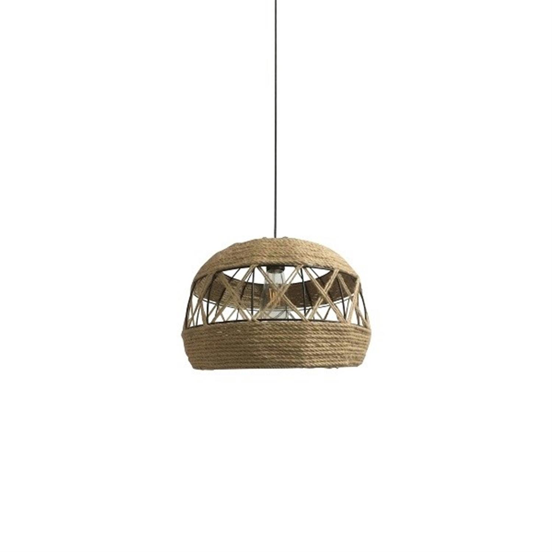 Φωτιστικό οροφής μονόφωτο μεταλλικό με σχοινί καφέ μαύρο Ballinad 35x45x150cm Home Lighting 77-3616