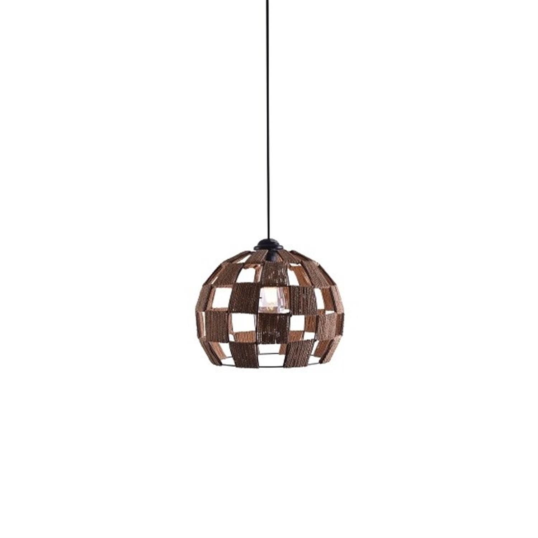 Φωτιστικό οροφής μονόφωτο μεταλλικό με σχοινί καφέ μαύρο Ball Show 20x18x150cm Home Lighting 77-3619