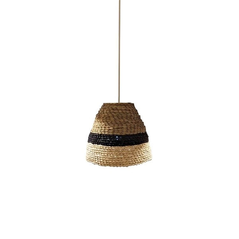 Φωτιστικό οροφής μονόφωτο μεταλλικό με σχοινί καφέ μαύρο Canan 30x26x120cm Home Lighting 77-3640
