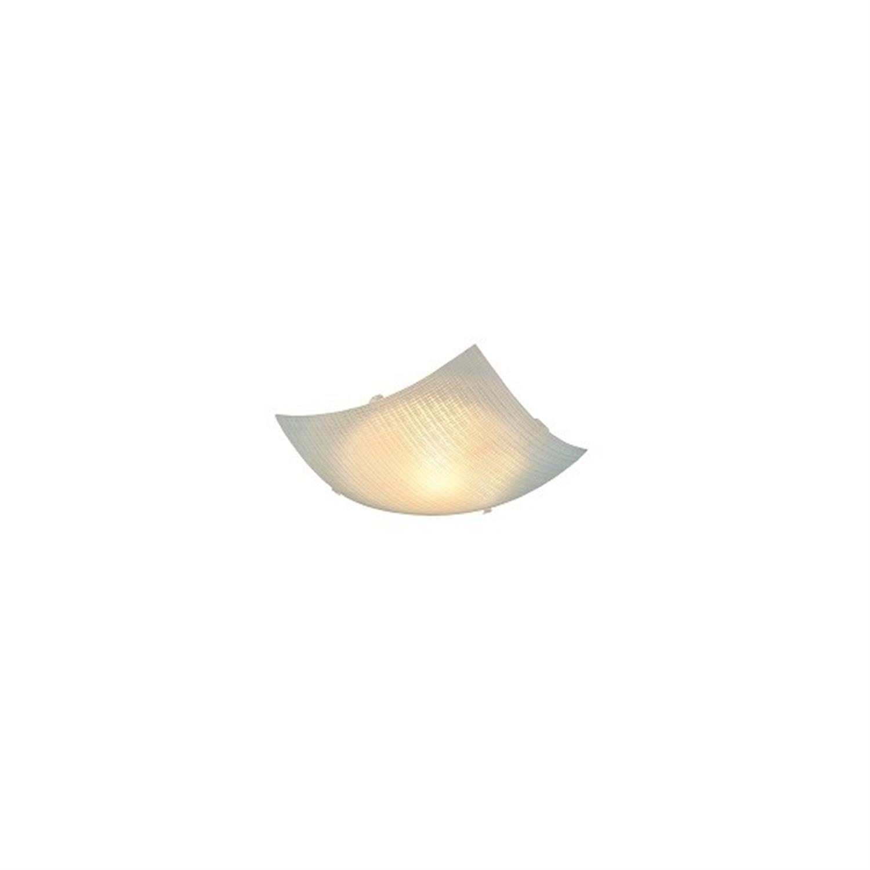 Πλαφονιέρα μονόφωτη γυάλινη με λευκό σχέδιο και διάφανα γαντζάκια Pelin 25x8cm Home Lighting 77-3645