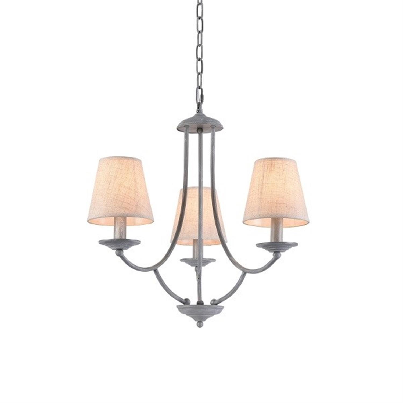 Φωτιστικό οροφής 3φωτο μεταλλικό γκρι πατίνα μπεζ καπέλο Etna 45x49x100cm Home Lighting 77-3661