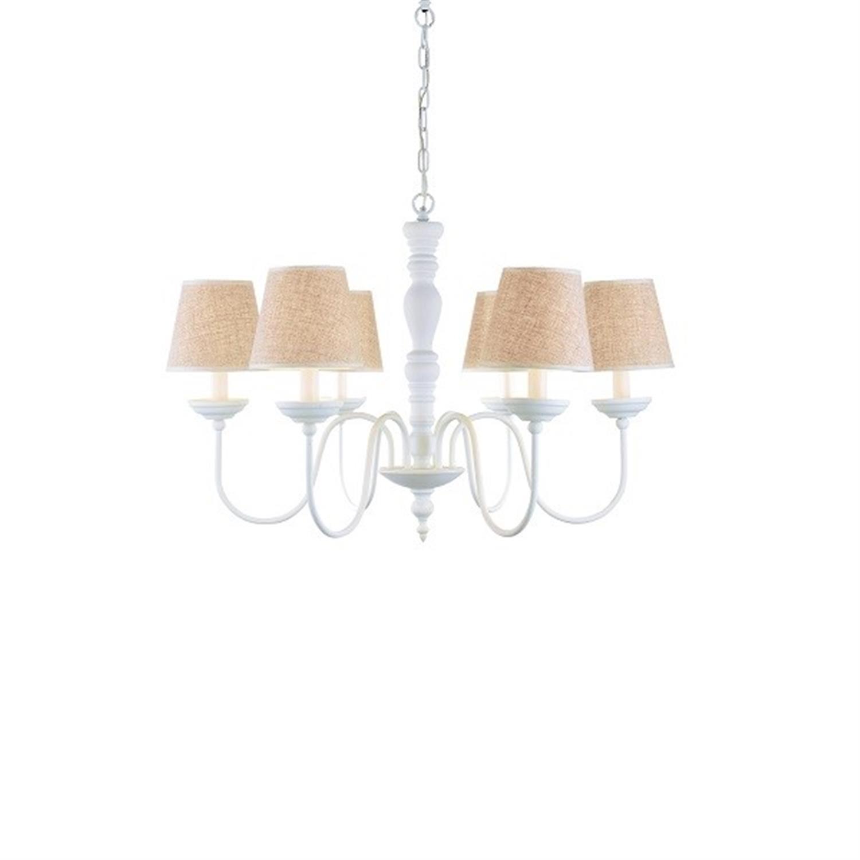 Φωτιστικό οροφής 6φωτο μεταλλικό λευκό μπεζ καπέλο Orion 76x50x100cm Home Lighting 77-3671