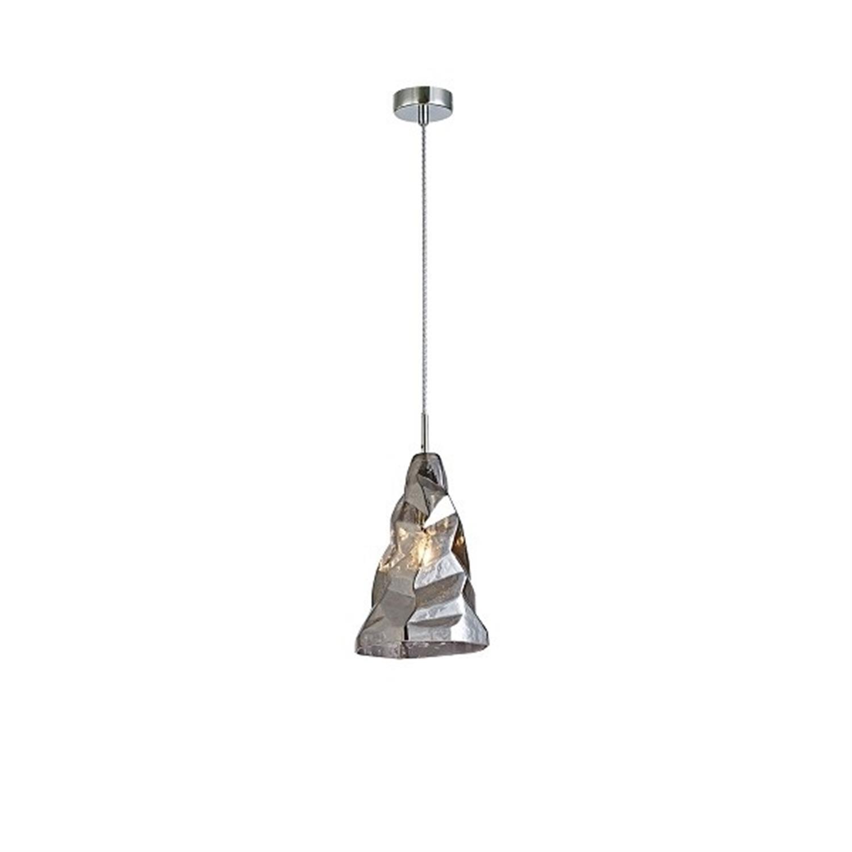 Φωτιστικό οροφής μονόφωτο χειροποίητο γυάλινο ανθρακί Luigi 15.5×22.5x120cm Home Lighting 77-3699
