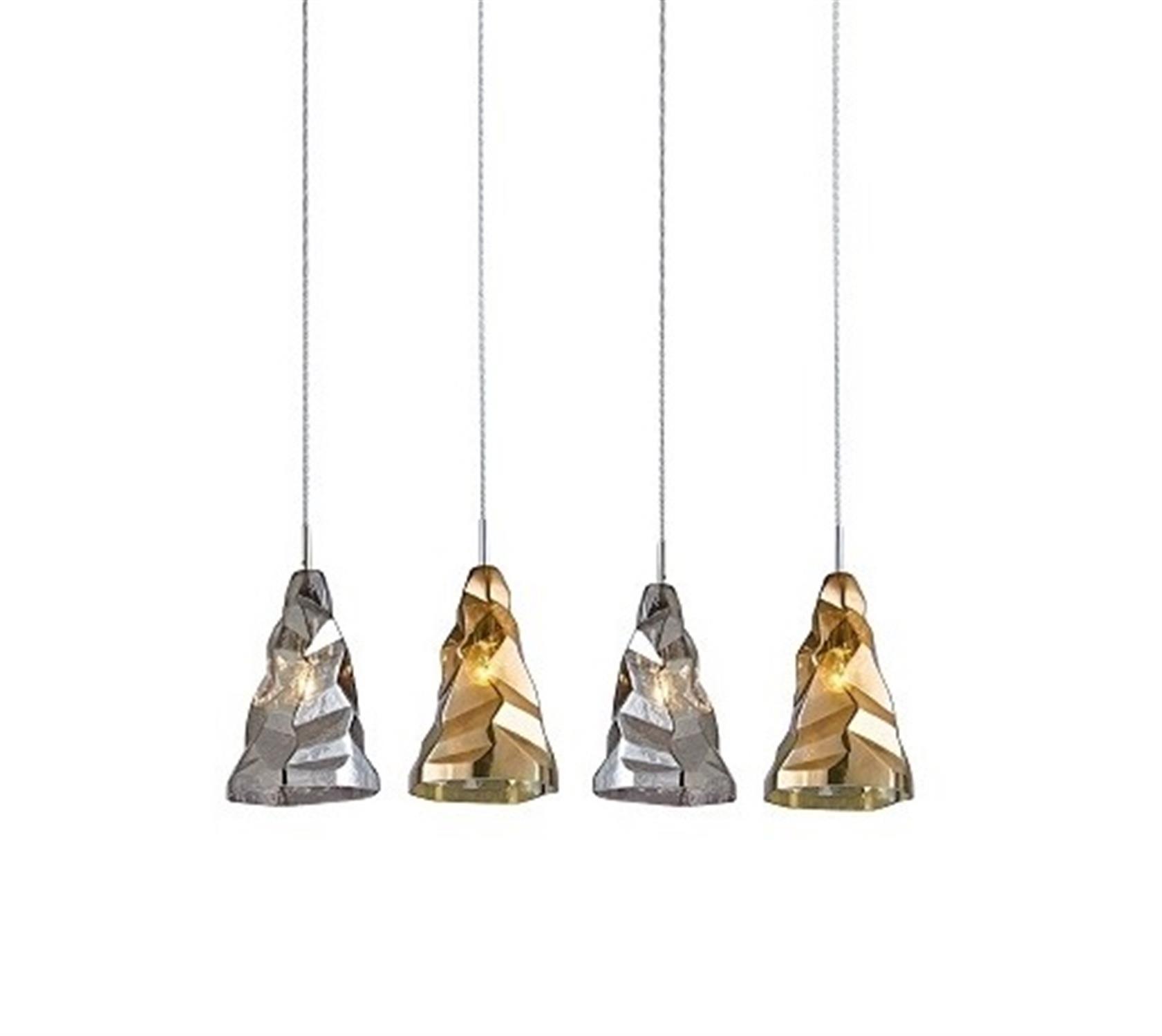 Φωτιστικό οροφής 4φωτο χειροποίητο γυάλινο χρυσό και ανθρακί Luigi 85×22.5x120cm Home Lighting 77-3701