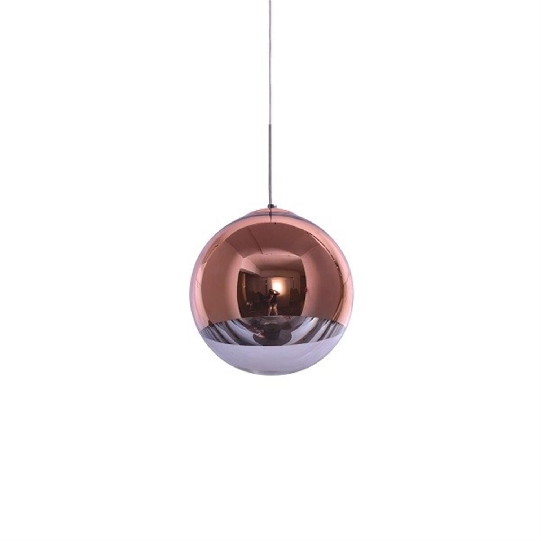 Φωτιστικό οροφής μονόφωτο γυάλινη μπάλα χάλκινη διάφανο γυαλί Alessia 30x120cm Home Lighting 77-3706