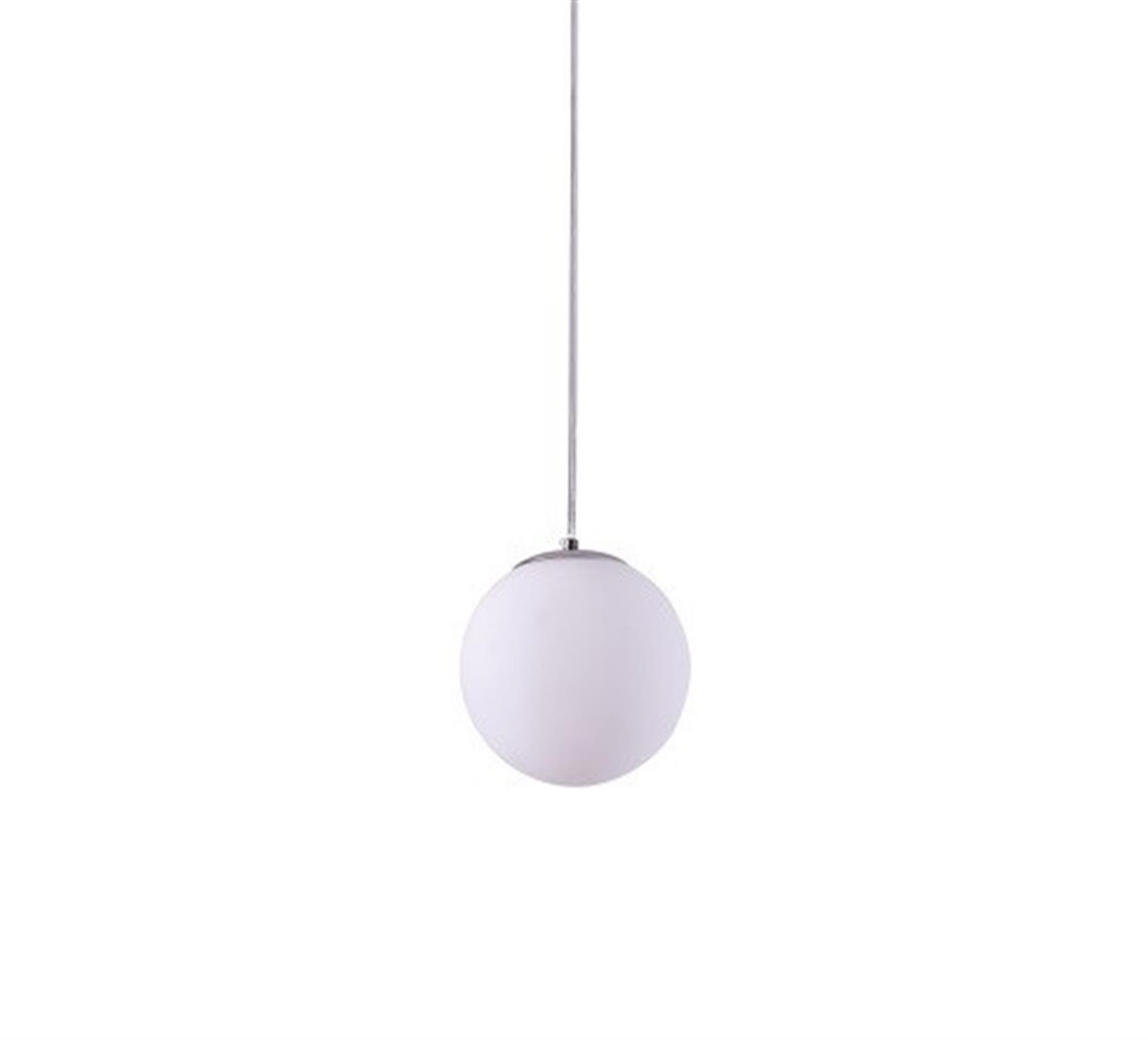 Φωτιστικό οροφής μονόφωτο μεταλλικό χρωμίου με χειροποίητη οπαλίνα λευκή Alessia 15x120cm Home Lighting 77-3709