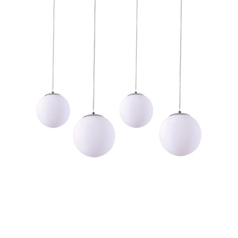 Φωτιστικό οροφής 4φωτο οπαλίνα λευκή ανάρτηση χρωμίου Alessia 85x120cm Home Lighting 77-3714