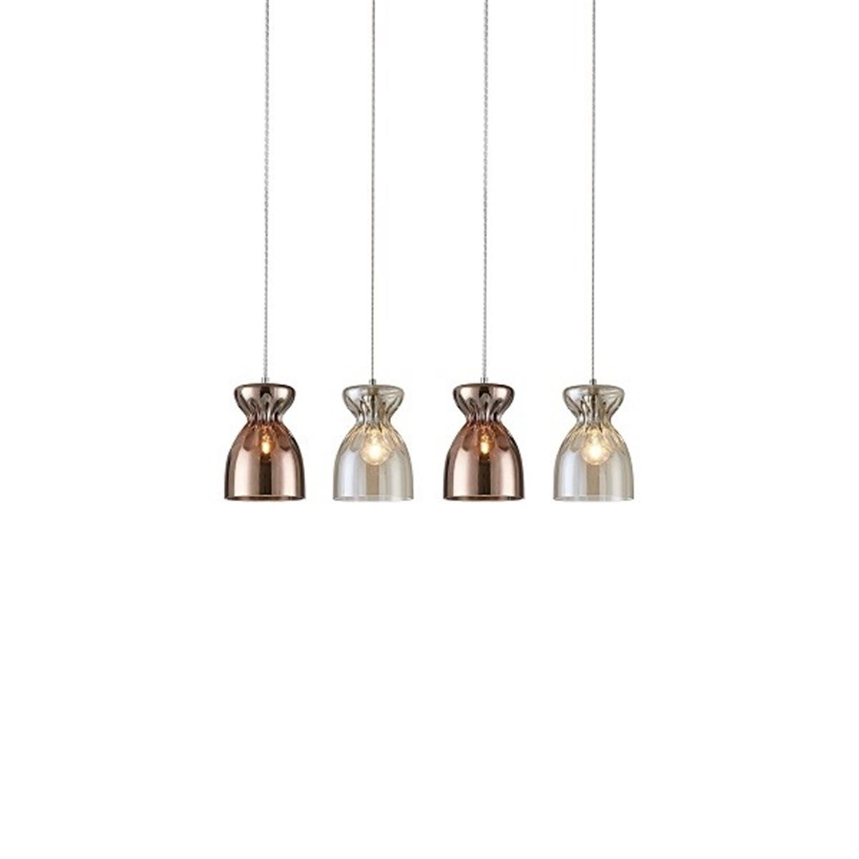 Φωτιστικό οροφής 4φωτο χειροποίητο γυάλινο χάλκινο και κονιάκ Domenico 85x120cm Home Lighting 77-3719