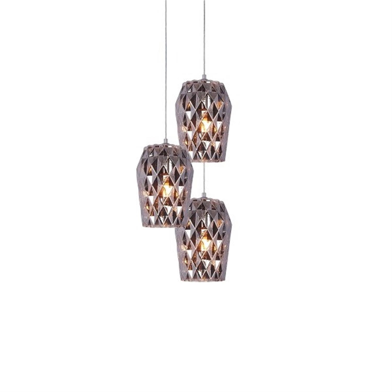 Φωτιστικό οροφής 3φωτο χειροποίητο γυάλινο ανθρακί Luca 35x24x120cm Home Lighting 77-3722