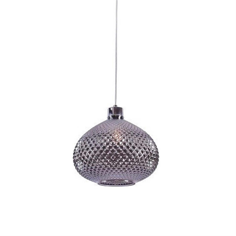 Φωτιστικό οροφής μονόφωτο με χειροποίητο γυαλί ανθρακί Ilenia 28.5×23.5x120cm Home Lighting 77-3739