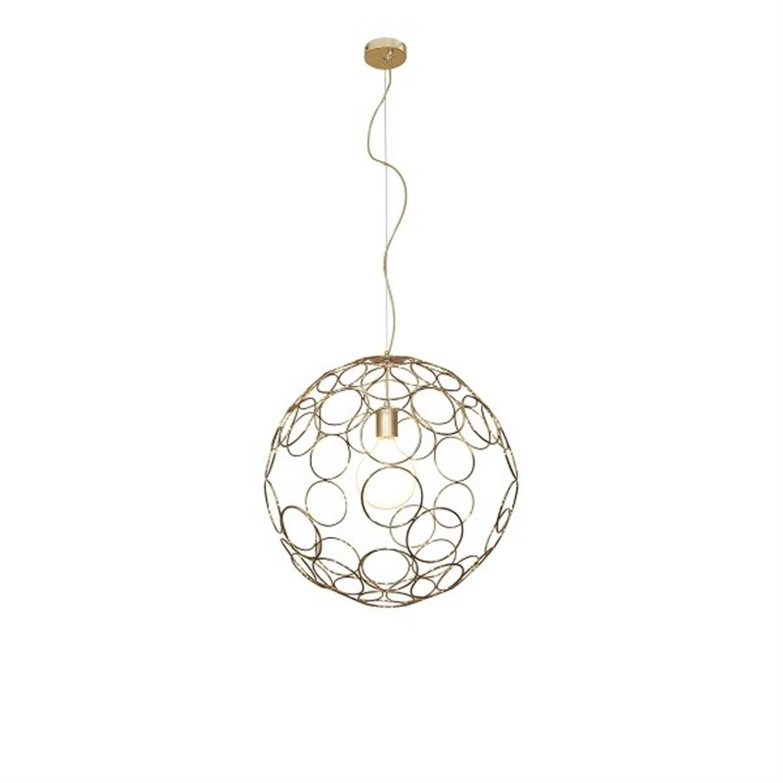 Φωτιστικό οροφής κρεμαστό μονόφωτο μεταλλικό χρυσό Aline 100×120εκ Home Lighting 77-4092