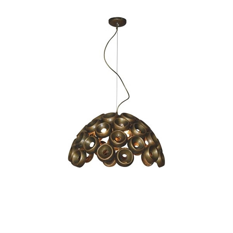 Φωτιστικό οροφής κρεμαστό μονόφωτο μεταλλικό αντικέ μπρονζέ Darina 28×120εκ Home Lighting 77-4096