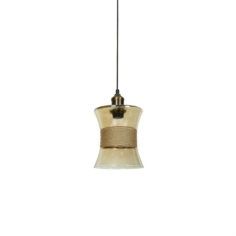 Φωτιστικό οροφής μονόφωτο γυάλινο με σχοινί Colin 17x22x120cm Home Lighting 77-4372