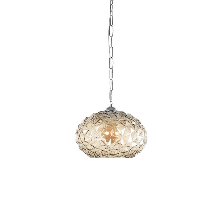 Φωτιστικό οροφής μονόφωτο χειροποίητο γυάλινο διάφανο μελί Chloe 30x120cm Home Lighting 77-4378