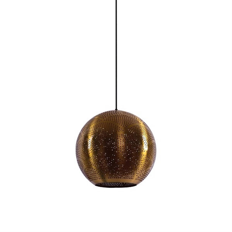 Φωτιστικό οροφής μονόφωτο μεταλλικό διάτρητο καπέλο χρώμα ορείχαλκου Gadi 30x120cm Home Lighting 77-4393