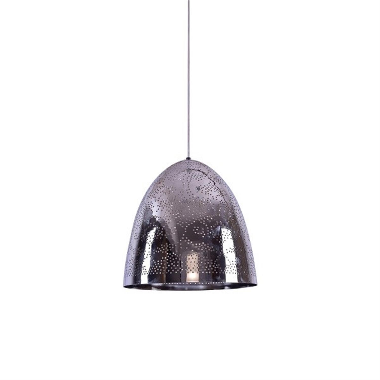 Φωτιστικό οροφής μονόφωτο μεταλλικό διάτρητο καπέλο χρωμίου Faruq 30x120cm Home Lighting 77-4394